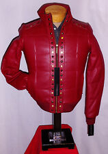 """NEW** """"SEAN JOHN"""" RED LEATHER W/ith STUDS Jacket/Coat**M**$278***NEW w/TAGS!"""