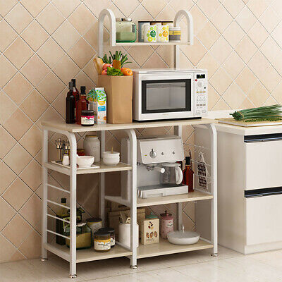 3/4-Tier Microwave Oven Cart Bakers Rack Kitchen Storage Shelves organizer  Stand | eBay