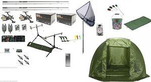 Full Carp Fishing Set Up Kit Rods Reels Alarms /& Tackle Mat Shelter Net etc