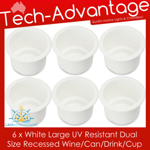 6 X WHITE BOAT YACHT RECESSED WINE BOTTLE//STUBBIES//CAN//DRINK//CUP HOLDERS /& DRAIN
