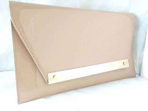 NEW NUDE FAUX PATENT LEATHER /& SUEDE EVENING DAY CLUTCH BAG WEDDING PROM SALE
