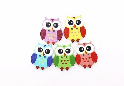Owl Wooden Sewing Button  DIY 50pcs