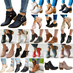 Womens-Low-Mid-Block-Heel-Ankle-Boots-Leather-Winter-Casual-Shoes-Chunky-Booties
