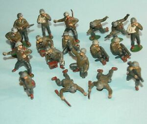 vintage-1950-CRESCENT-England-US-INFANTRY-WW2-18-figures-TIMPO-Radio-MG-Wounded