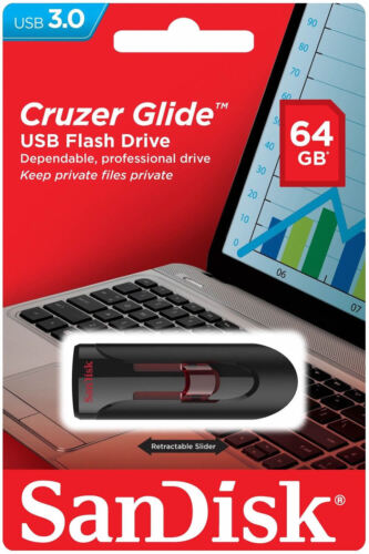 New SanDisk Cruzer Glide 64GB USB 3.0 Flash Memory Pen Drive SDCZ600 CZ600 64 GB