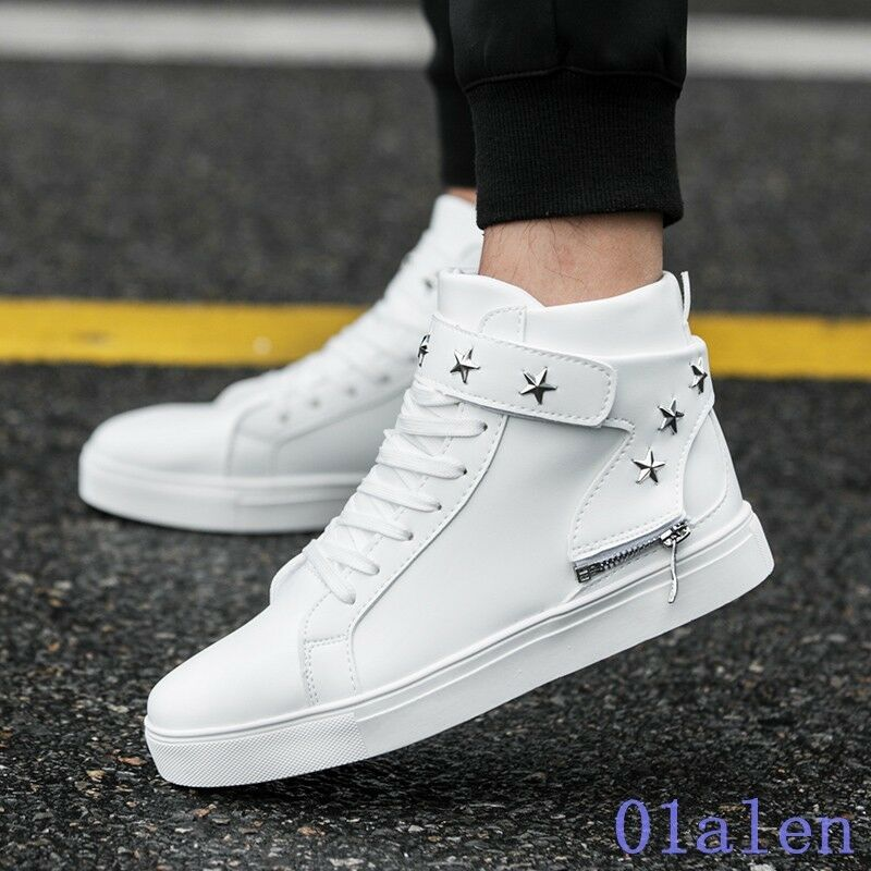 News Mens Round Toe Cross Strap High Top Board shoes Breathable Comfort Zipper
