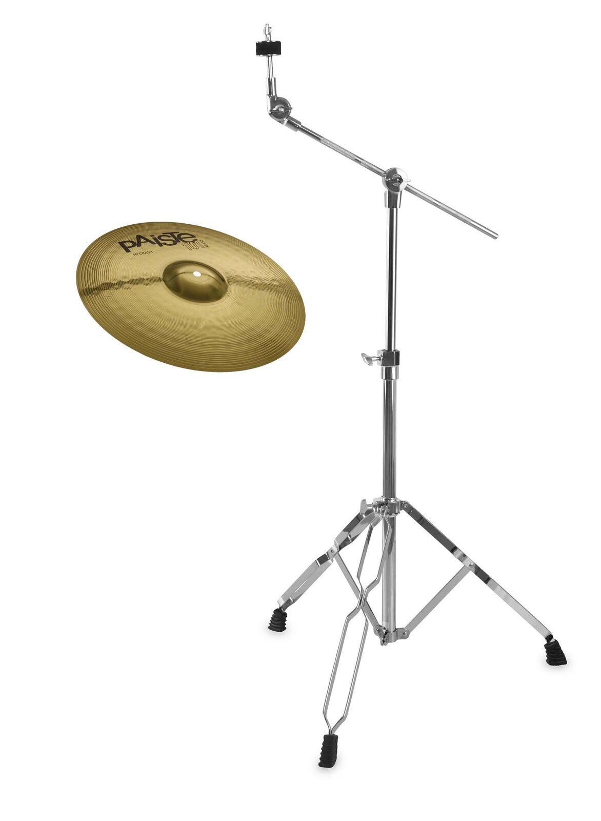 Paiste 14  101 Brass Crash Becken Galgen Ständer Set Cymbal Boom Stand Anfänger