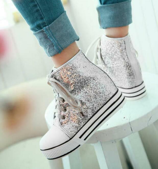 Womens Shiny Sequins Athletic Sneakers Lace-up Creepers Casual Ankle Boots shoes