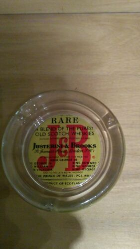 Justrrini & brooks scotch whiskies ashtray glass vintage collectable