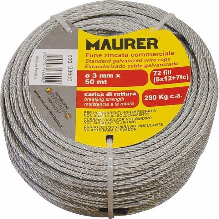 Fune in Metallo Zincata in Matassina da 50 Metri Ø 10 mm Maurer