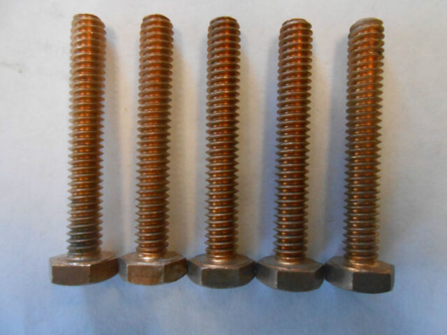 "1/4"" by 1 3/4"" copper bolt 5 bolts per set, NOS"