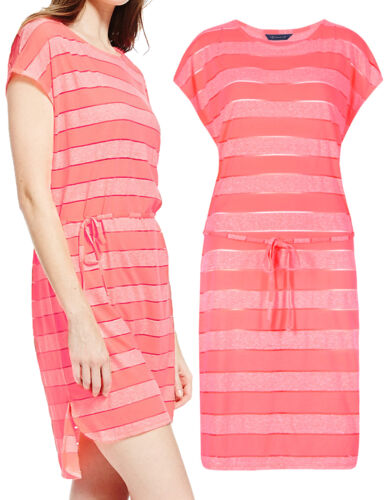Nouveau-ex MARKS AND SPENCER corail à rayures burnout robe de plage-tailles 10 12 14
