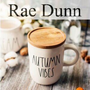 New-RAE-DUNN-Fall-2020-AUTUMN-VIBES-Mug-W-Wood-Coaster-Lid-Magenta-Thanksgiving
