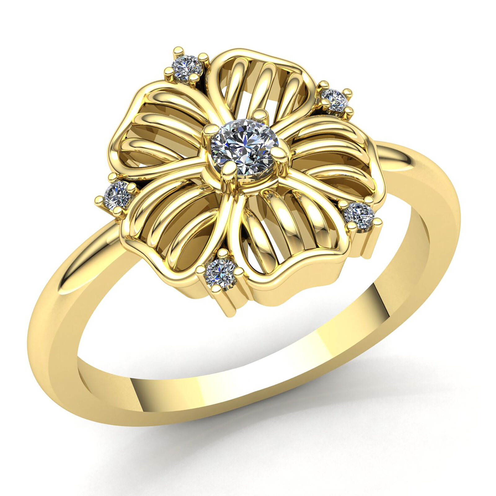 Natural 0.33ct Round Cut Diamond Ladies Flower Anniversary Fancy Ring 14K gold
