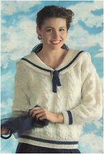 Ladies' DK Sailor Collar Cable Sweater Vintage Knitting Pattern Instructions