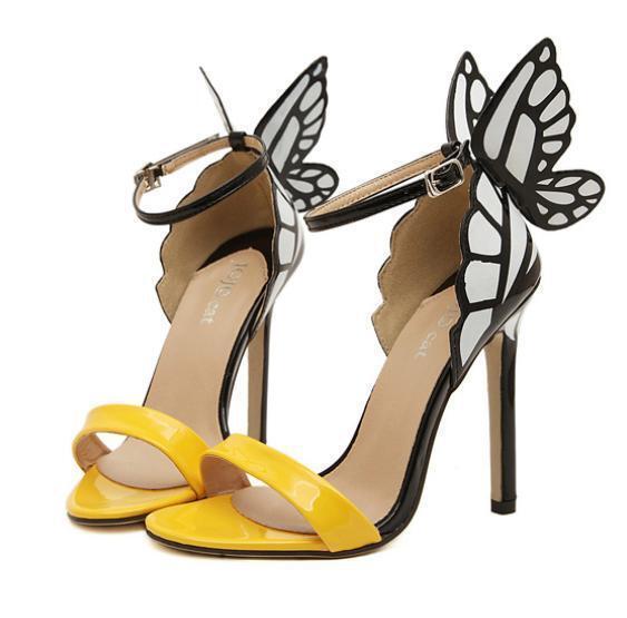 Schuhe Sandalen Sanadalette Frau Schmetterling 11,5 cm Stilett Gelb Schwarz 8597