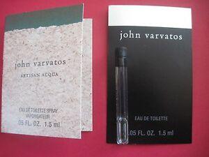 Lot 2 Set JOHN VARVATOS~Artisan Acqua Men EDT Cologne Sample Vial ...
