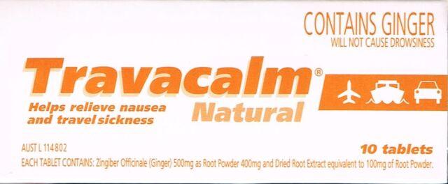 =>PRICE SMASH GENUINE TRAVACALM NATURAL 10 TABLETS FOR NAUSEA&TRAVEL SICKNESS