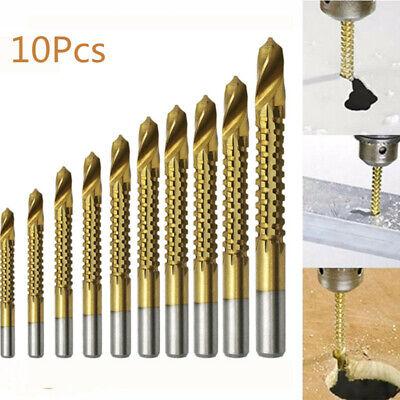 3-13mm 10PCS Coated Twist Drill Bit Set HSS Titanium Metal Drill Bit woodworking