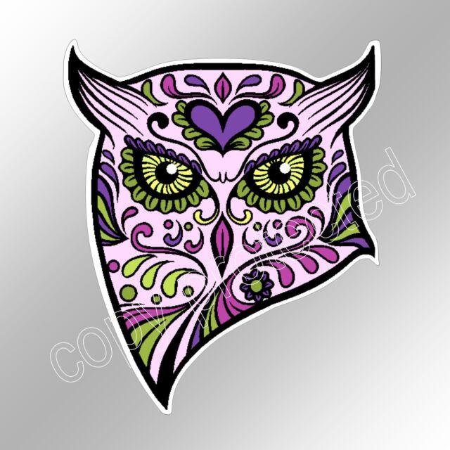 Sugar skull owl pink purple car bumper sticker day of the dead 93 x 110 mm