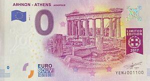 BILLET-0-EURO-ATHENES-ACROPOLIS-GRECE-2017-NUMERO-1100
