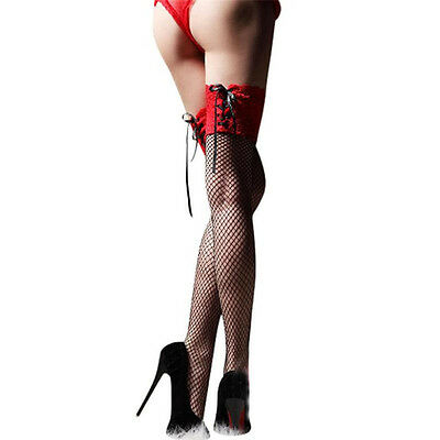 Durable Ladies Over Knee Stocking Sheer Lace Top Thigh High Hosiery Nets Socks