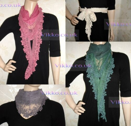 Linen and Embroidered Triangular Scarf SF228