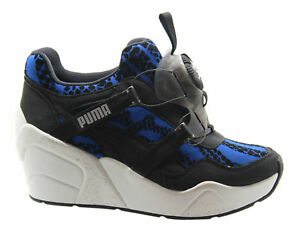 Puma Disc Wedge WR Womens Trainers Shoes No Lace Blue Black 357290 ... 6c63c8f1d