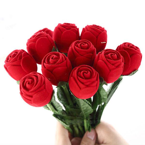 1/5/10pcs Boîte Ecrin Coffret à Bague Forme Rose Rouge pour Mariage Anniversaire