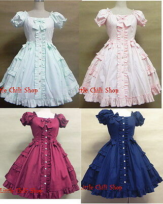 Princess Dolly Lolita Gothic Cosplay Kawaii Party Sweet Short Sleeve Dress 4 COL