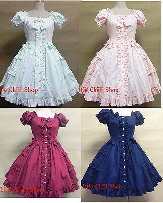 Princess Dolly Lolita Gothic Cosplay Kawaii Party Sweet Short Sleeve Dress 4 COL