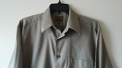Men's CALVIN KLEIN L 100% Cotton Casual Long Sleeve Shirt Solid Light Brown