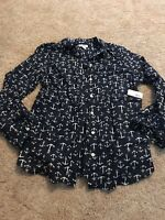Old Navy Women's Dark Blue White Anchor Button Down Top Size Small