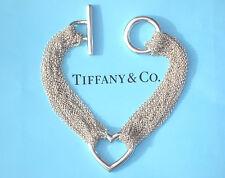 Tiffany & Co Sterling Silver Ten-Row Chain Heart Bracelet