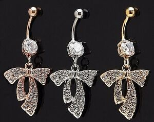 1-Single-Dangle-Belly-Ring-14g-3-8-034-Gem-Fancy-Pave-Ribbon-Gemstone-CZ-Navel-819