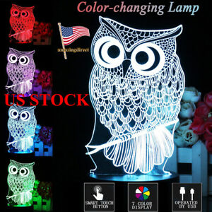 3D-Night-Light-Owl-LED-Table-Lamp-Touch-Control-Animal-7-Color-Change-Xmas-Gift