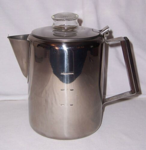 Vintage Stovetop Campfire Coffee Maker Percolator 9 Cups 18-8 Stainless Steel