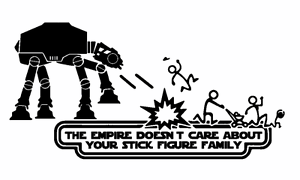 Empire Doesn/'t Care Stick Figure Family Decal Vinyl Truck Car Sticker Star Wars