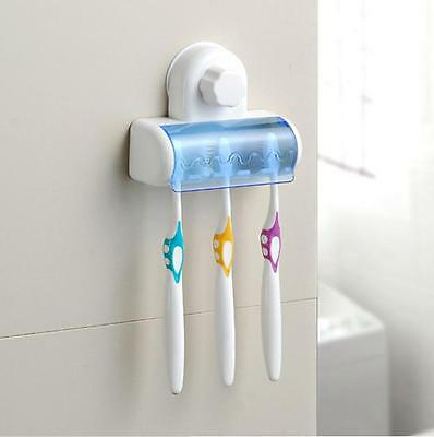 U28 Toothbrush Bathroom Home Suction Holder Stand Rack Plastic For 5 Brushes AU