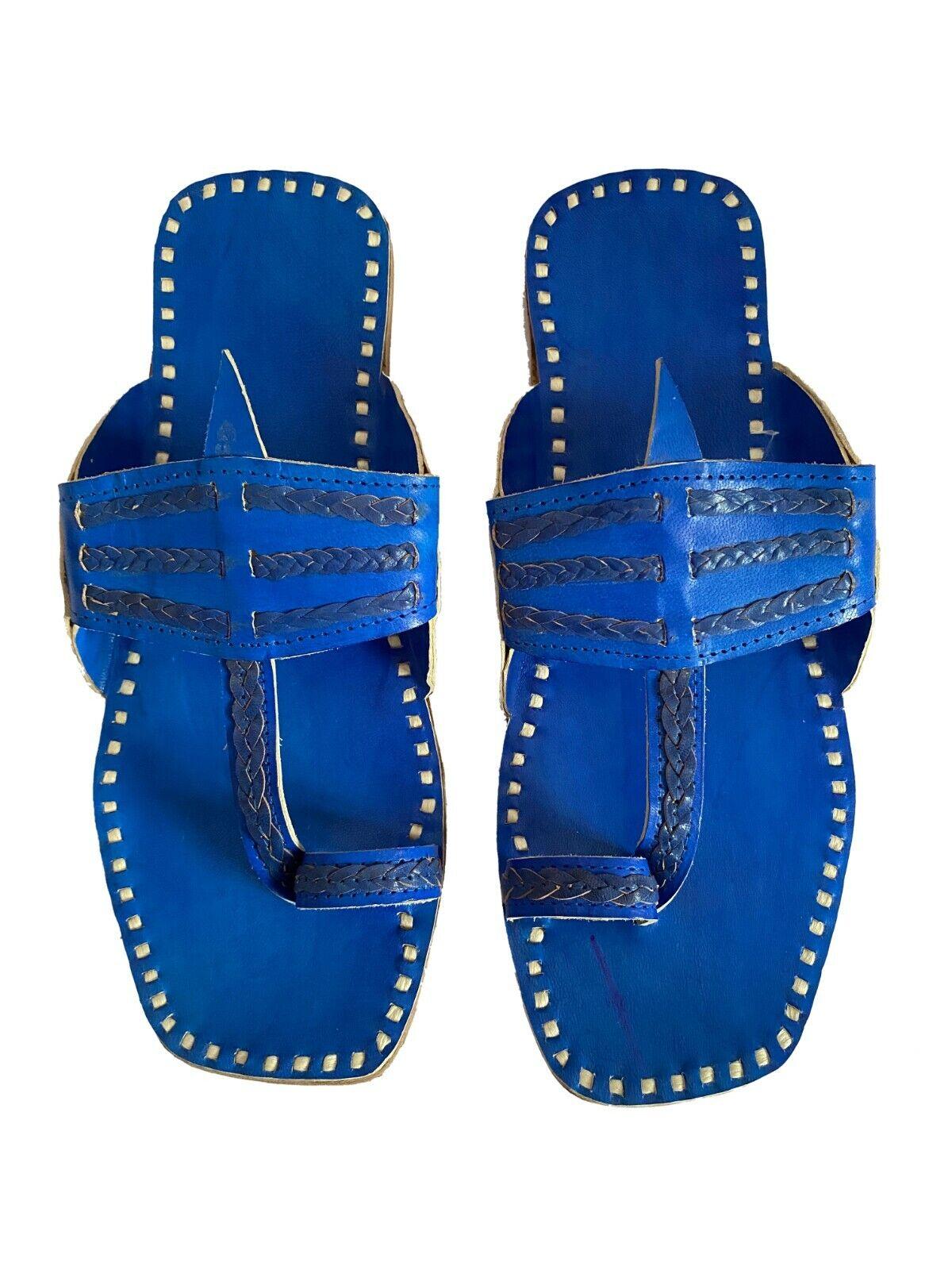 Mens Genuine blue leather sandals kolhapuri slippers flip flops handmade India