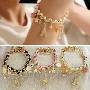 Shine-Tower-Bracelet-Leather-Eiffel-Paris-Women-Pentacle-Ladies-Crystal