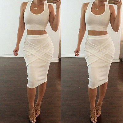 Womens Two Piece Bandage Bodycon EVENING CAsual Clubwear Party Summer Dress