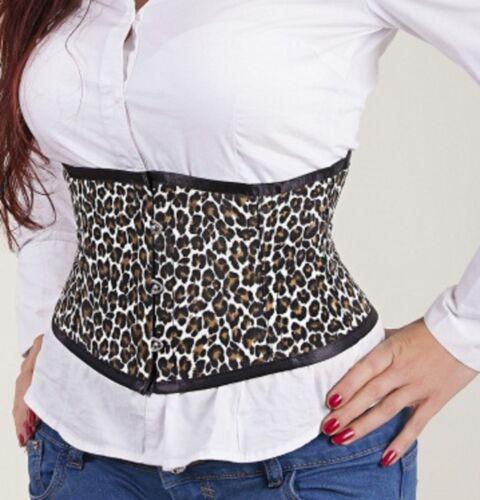 Steel Back Cincher Cheetah Cotton Lace 2xs~7xl Up Bones Brown Corset Mini Print qv8AK6KwI