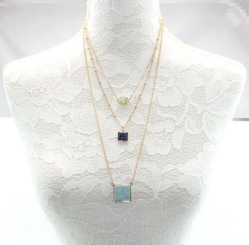 Fashion Gold Plated Three Layers Lapis lazuli//Turquoise Crystal Pendant Necklace