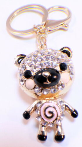 Rhinestone Bling Key Chain Fob Purse Phone Charm Happy Piggie Pig