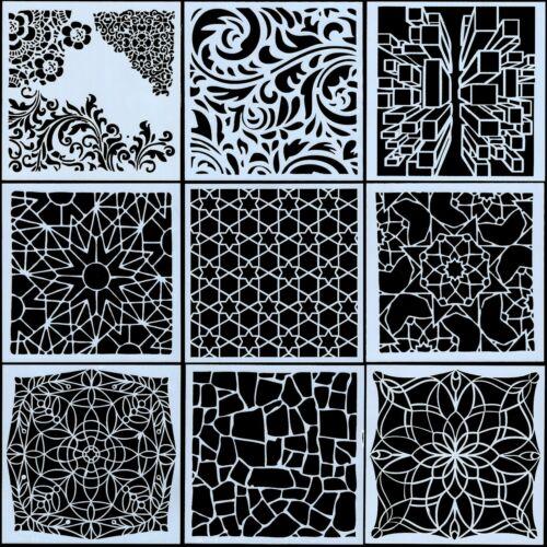 9Pcs//Set Vintage Texture Craft Layering Stencils Painting Scrapbooking Stamping