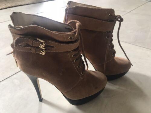 Size Heel Tan Zip Suede Kors Platform Up Brown Uk Wood 3 Lace Boots Michael HOwI5q5
