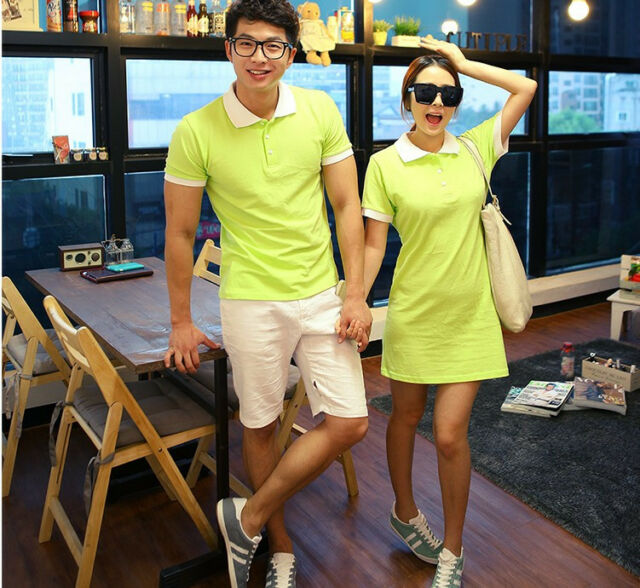 Green Cotton Couples POLO T Shirt/Dress Lovers Short Sleeve Beach Vocation 1pc
