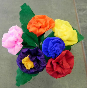 Mexican paper flowers multicolor set of 6 crafts party ebay image is loading mexican paper flowers multicolor set of 6 crafts mightylinksfo