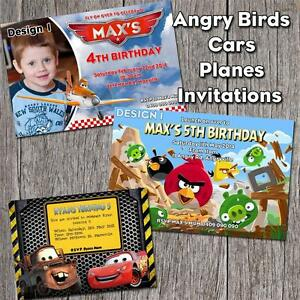 Details About Personalised CARS PLANES ANGRYBIRDS Photo Birthday Party Invitation YOU PRINT